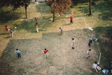 Youth facilities before the Dip Site, outside Hart House, summer 1989